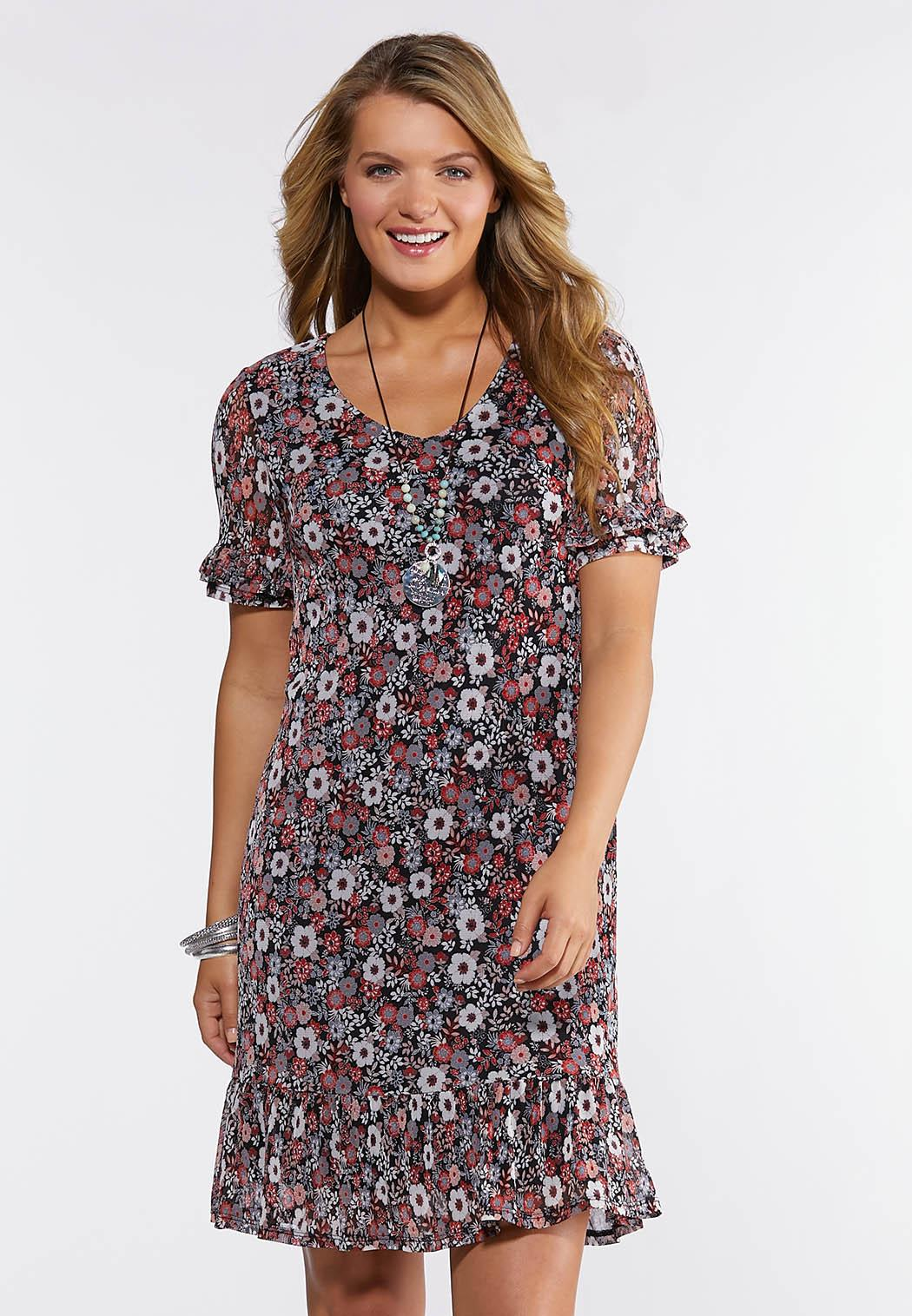 Plus Size Ruffled Floral Flounce Dress