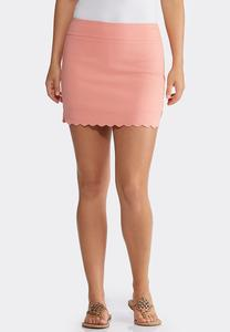 Solid Scalloped Skort