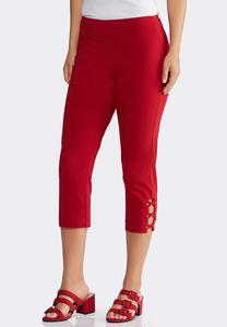 Cropped Red Lattice Pants