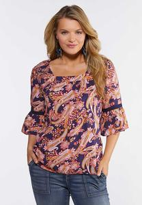 Plus Size Smocked Paisley Poet Top