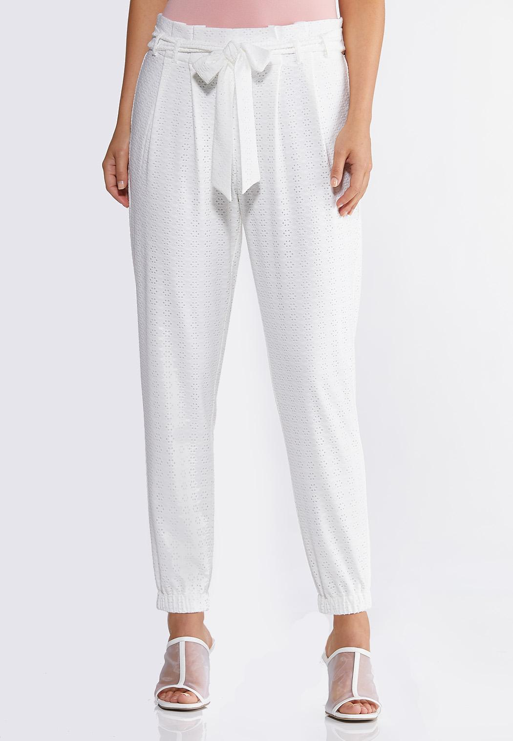 Eyelet Tie Front Pants