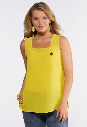Plus Size Button Pocket Tank Top