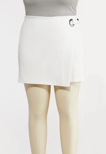 Plus Size White Hardware Skort