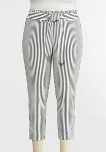 Plus Petite Striped Paperbag Tie Waist Pants