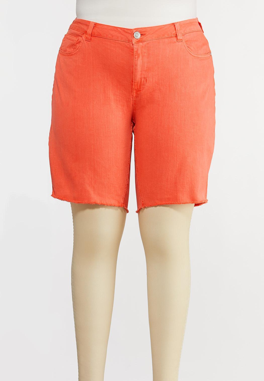 Plus Size Coral Bermuda Denim Shorts