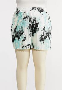 Plus Size Pleated Tie Dye Shorts