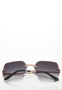 Chain Detail Rimless Sunglasses