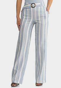 Belted Stripe Linen Pants