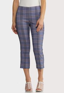 Blue Plaid Bengaline Pants