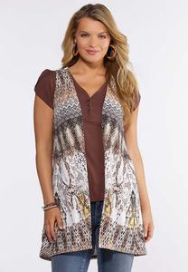 Plus Size Printed Hacci Vest