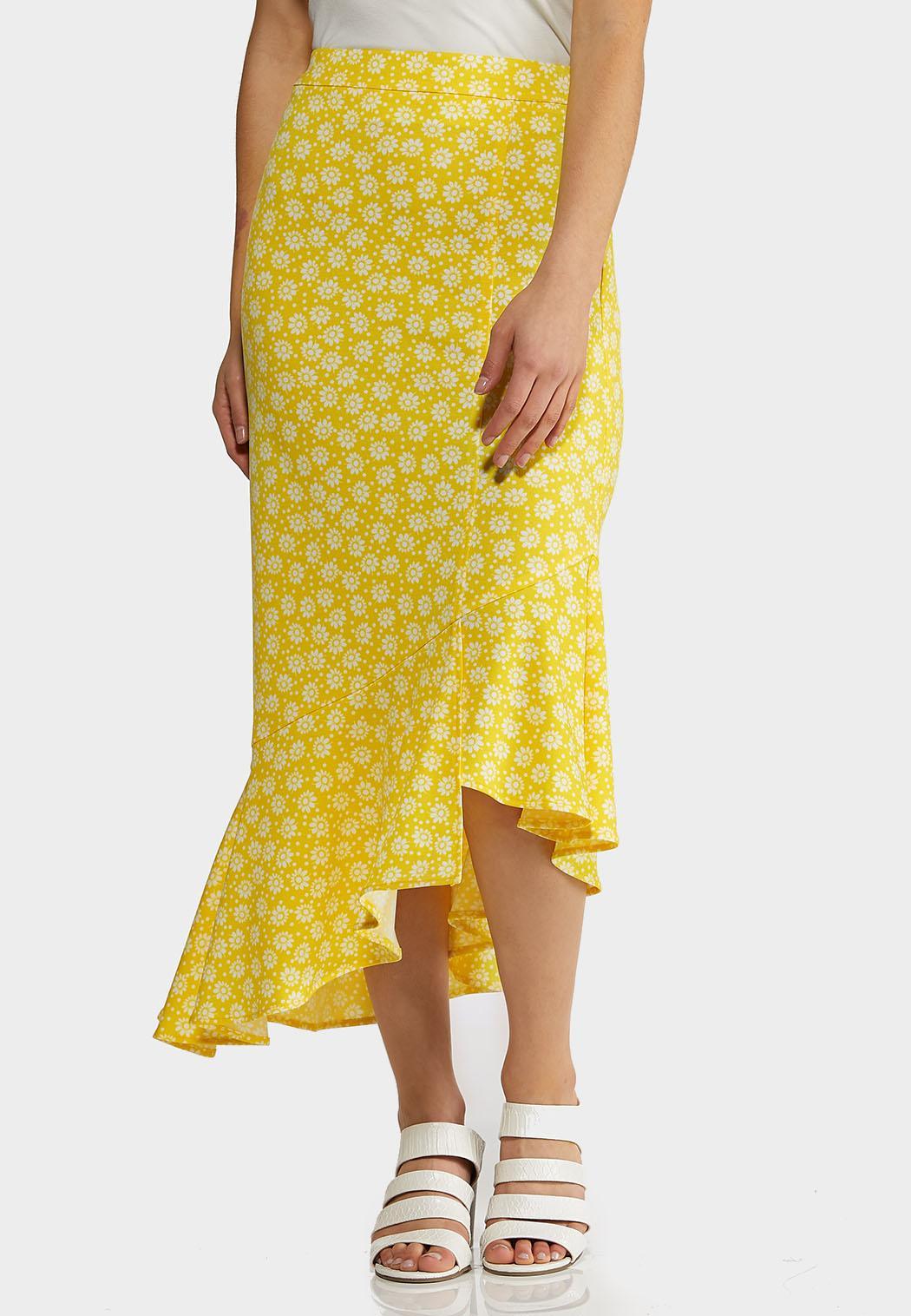 Plus Size Ruffled Floral Midi Skirt