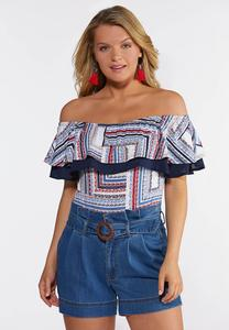 Plus Size Ruffled Americana Bodysuit