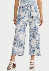 Textured Floral Pants