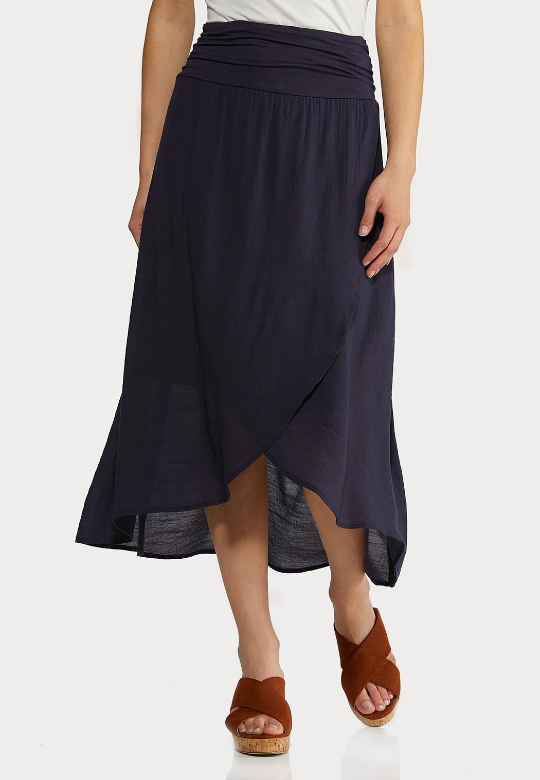 Solid Wrap Midi Skirt