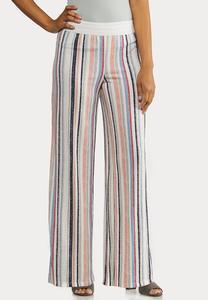 Petite Faded Rainbow Stripe Pants