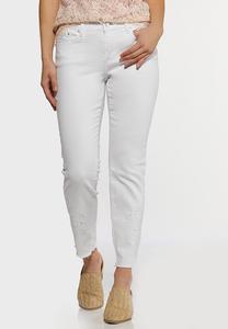 White Eyelet Hem Skinny Jeans