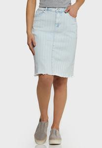 Striped Light Wash Denim Skirt