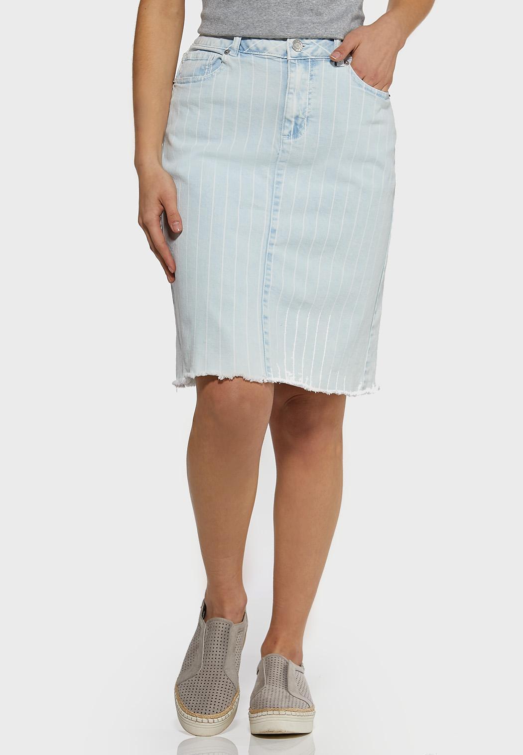 Plus Size Striped Light Wash Denim Skirt