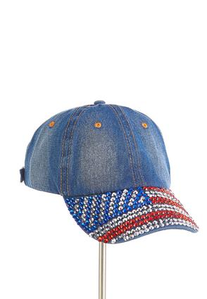 Americana Bling Denim Cap