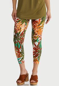 Cropped Tropical Leaf Leggings