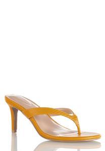 Golden Thong Heeled Sandals