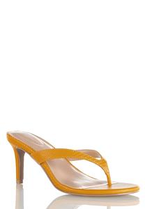 Golden Thong Heeled Sandals