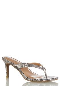 Snakeskin Thong Heeled Sandals