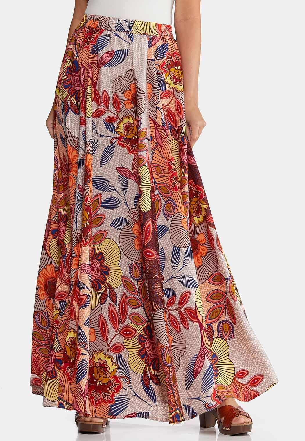 Floral Wide Sweep Maxi Skirt