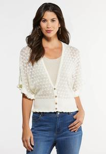 Plus Size Pointelle Ruffle Trim Cardigan