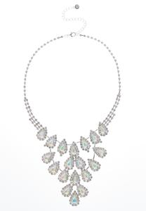 Tear Stone Rhinestone Bib Necklace
