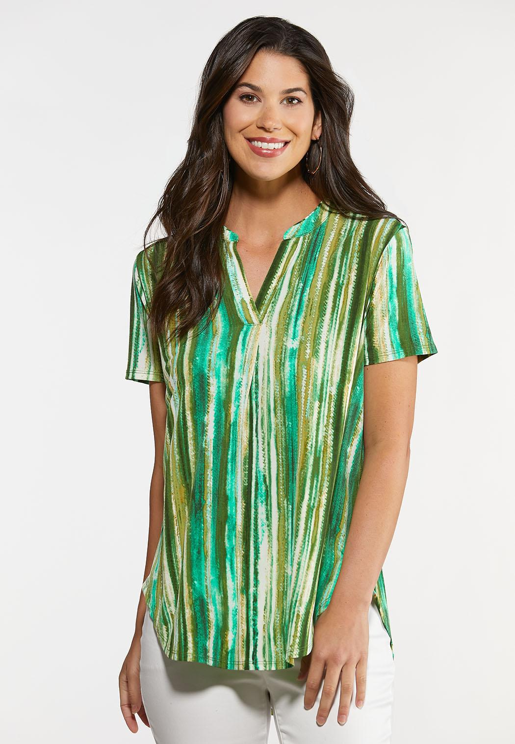 Green Stripe Pullover Top