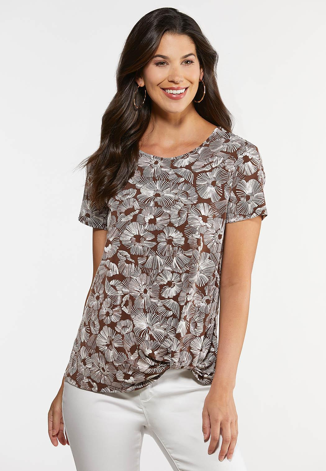 Plus Size Knotted Brown Floral Top
