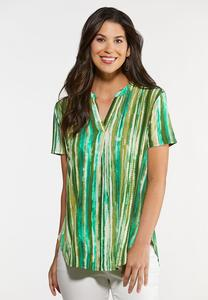 Plus Size Green Stripe Pullover Top