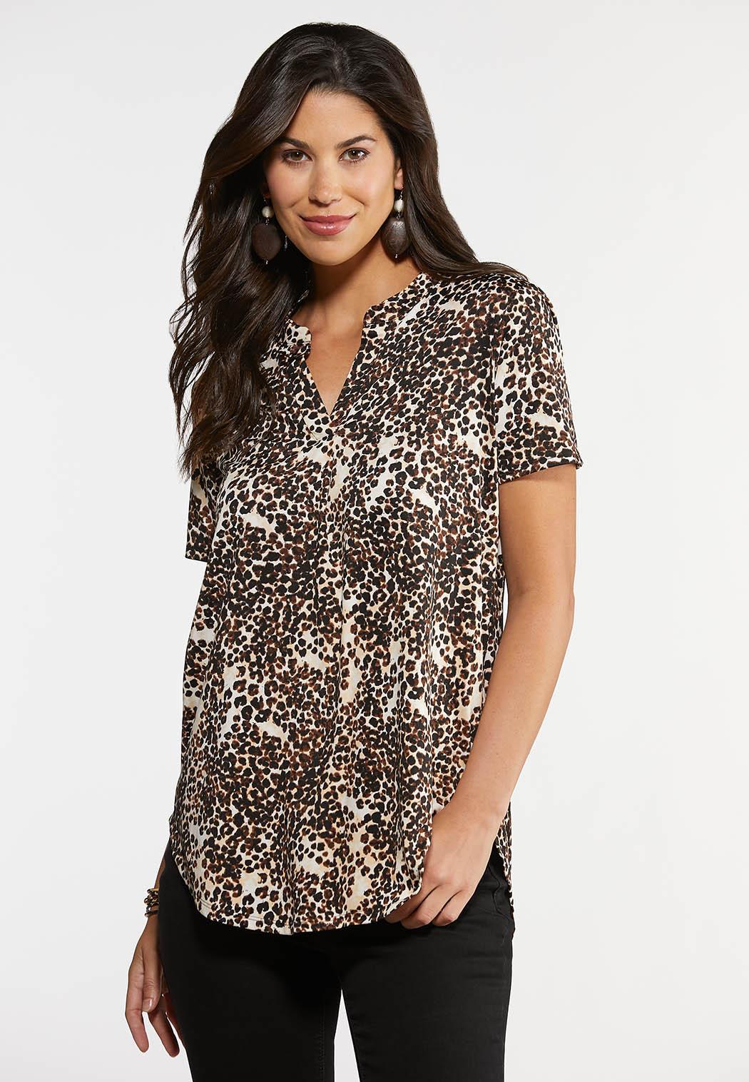 Plus Size Cheetah Print Top