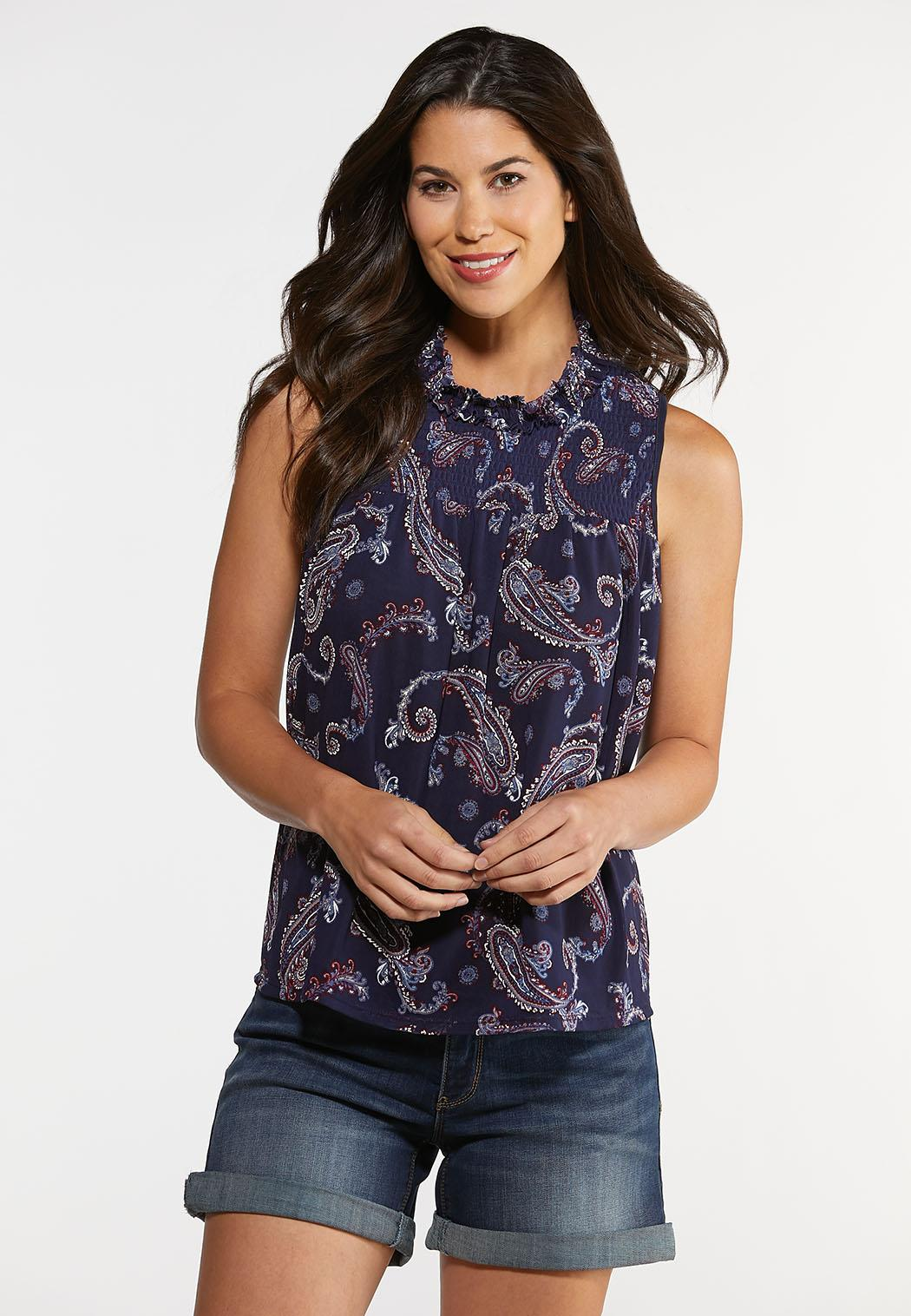 Plus Size Paisley Ruffled Neck Top