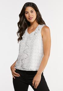 Plus Size Ruffled Lacy Tank