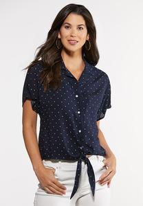 Plus Size Navy Dot Tie Waist Top