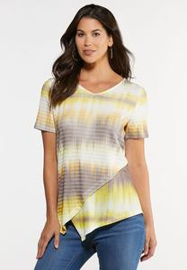 Plus Size Yellow Tie Dye Asymmetrical Top