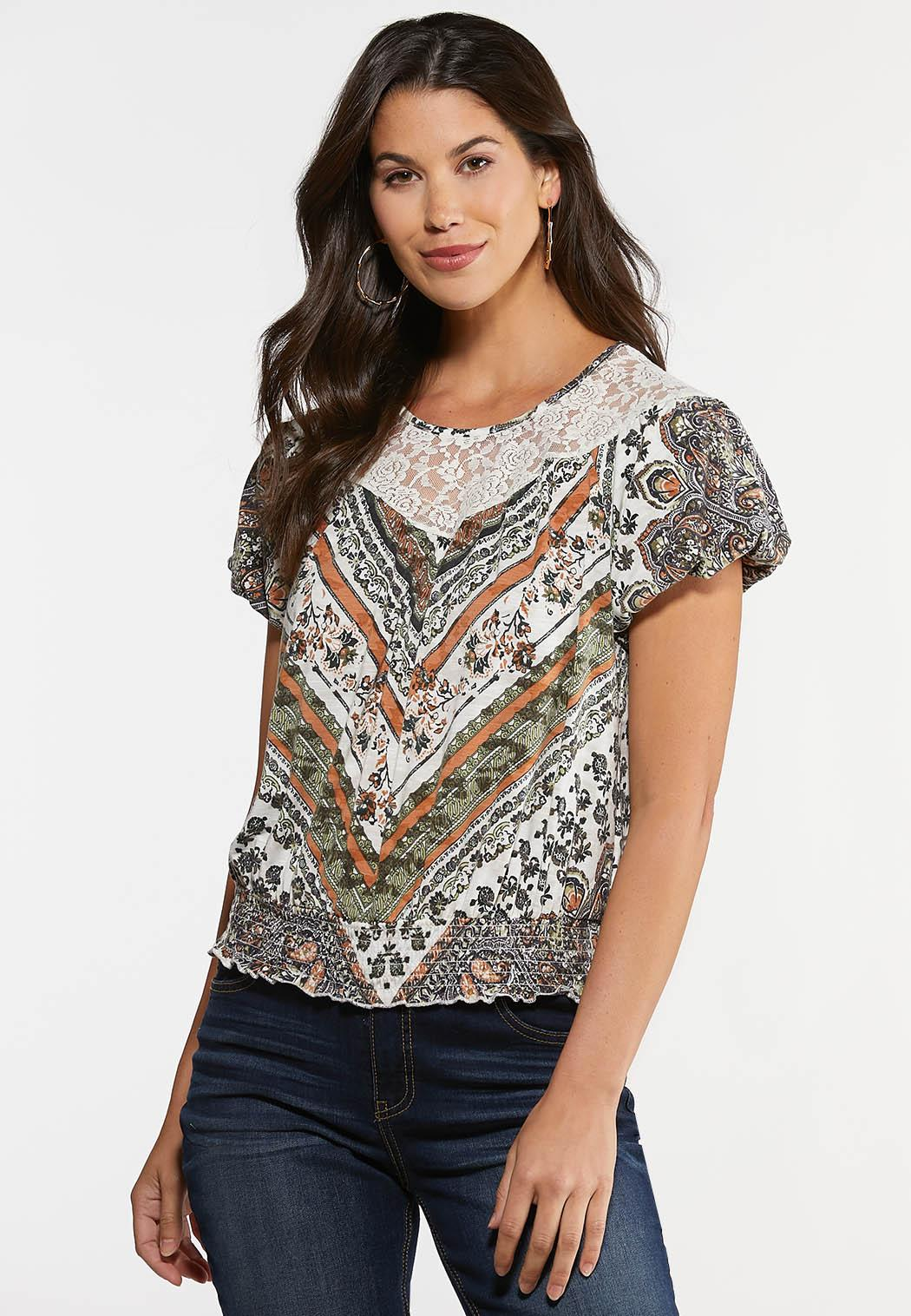 Plus Size Lace Smocked Prairie Top