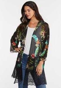 Plus Size Island Floral Lace Kimono