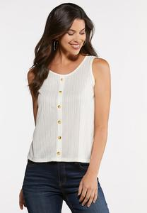 Plus Size Button Front Ribbed Tank