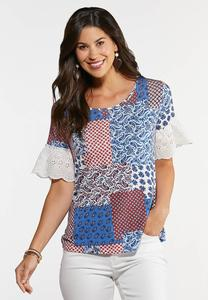Plus Size Patchwork Eyelet Sleeve Top