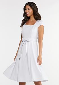 Square Neck Knit Midi Dress