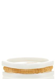 Resin Raffia Bracelet Set