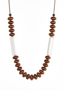 Mixed Wood Resin Cord Necklace