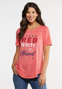 Plus Size Red White Blessed Tee