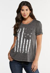 Plus Size Faded Flag Tee