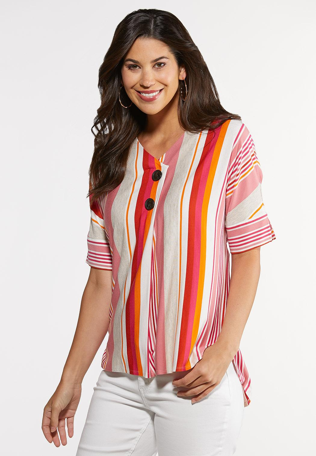 Plus Size Citrus Stripe High-Low Top