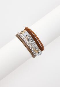 Layered Cord Leaf Bracelet