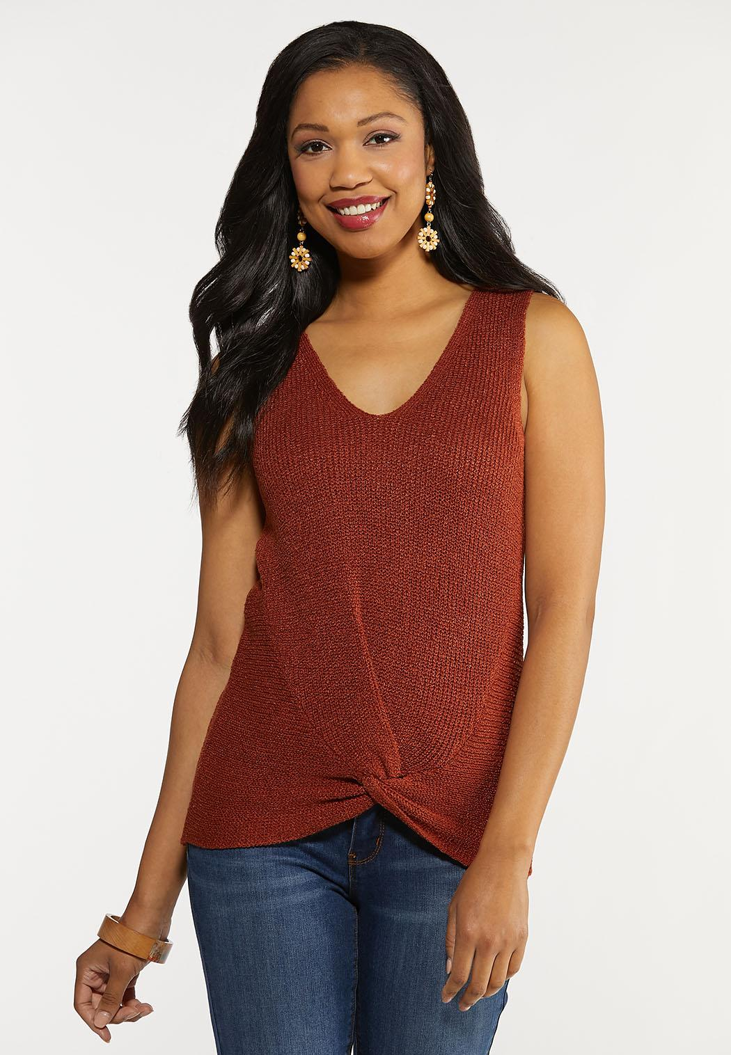 Plus Size Twist Front Sleeveless Sweater